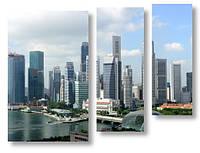 Модульная картина высокие здания 3Д