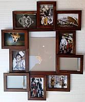 Деревянная эко мультирамка, коллаж #211-1 орех, венге, белый, чёрный.