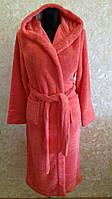 Махровый женский халат, красный