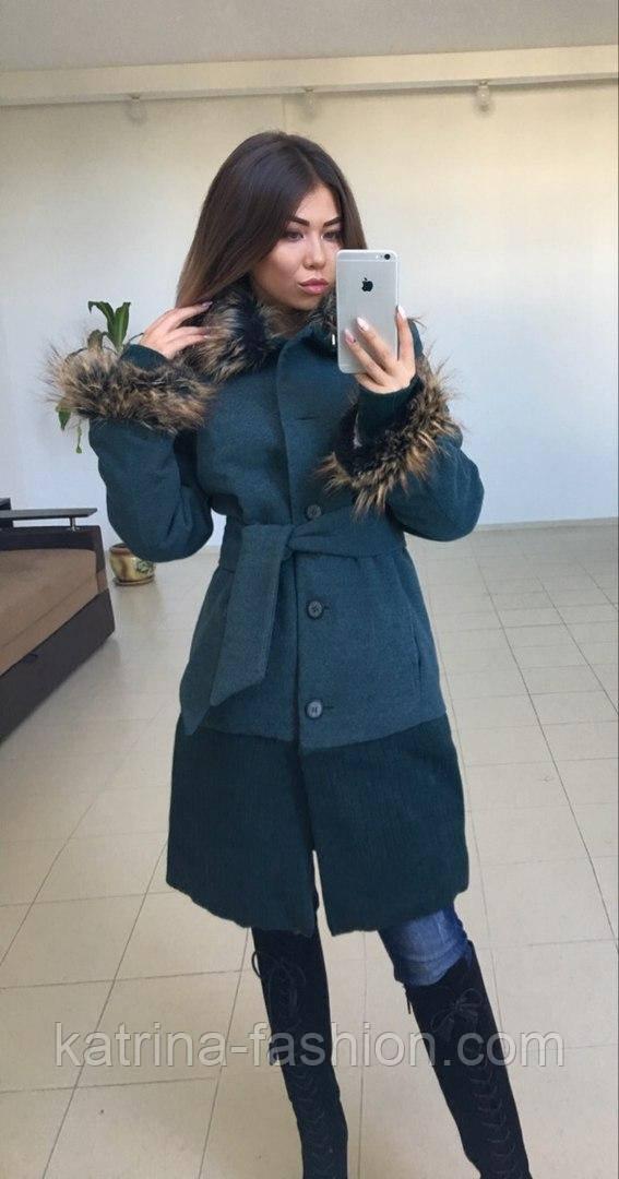 Женское модное пальто с утеплителем (зима) с меховой отделкой (2 цвета)