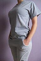 Футболка хлопковая серая полотно меланж с 36 по 42 размер