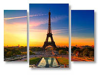 Модульная картина вечерний Париж 3д