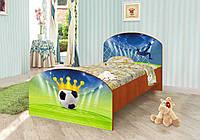 """Детская кровать """"Футбол №2"""" с ящиком для мальчиков из дерева (размер 90х190 см) ТМ Вальтер Венге светлый"""
