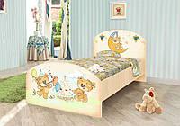 """Кровать """"Мишка Хеппи"""" для ребенка (2 размера: 90х190 см, 120х190 см; с ящ. и без ящ.) ТМ Вальтер Венге светлый"""
