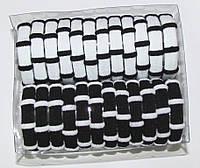 Бесшовная резинка для волос черно-белая 24 шт/уп