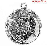 Подвеска, Круглая, ''Ангел и Луна'', Античное серебро, 4.5x3.9 mm