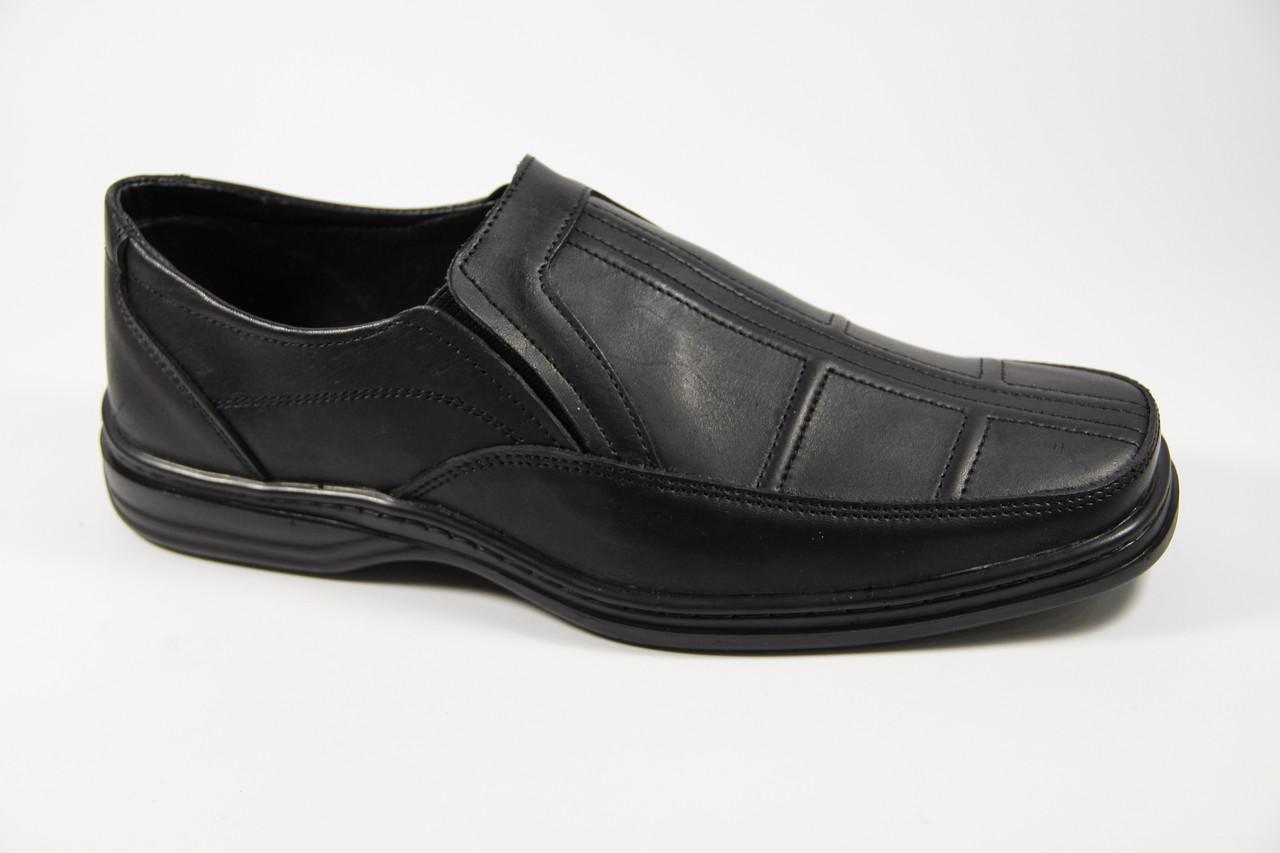 Туфли Мужские Из Натуральной Кожи на Резинке WAL 16 Black — в ... 36978aa250c
