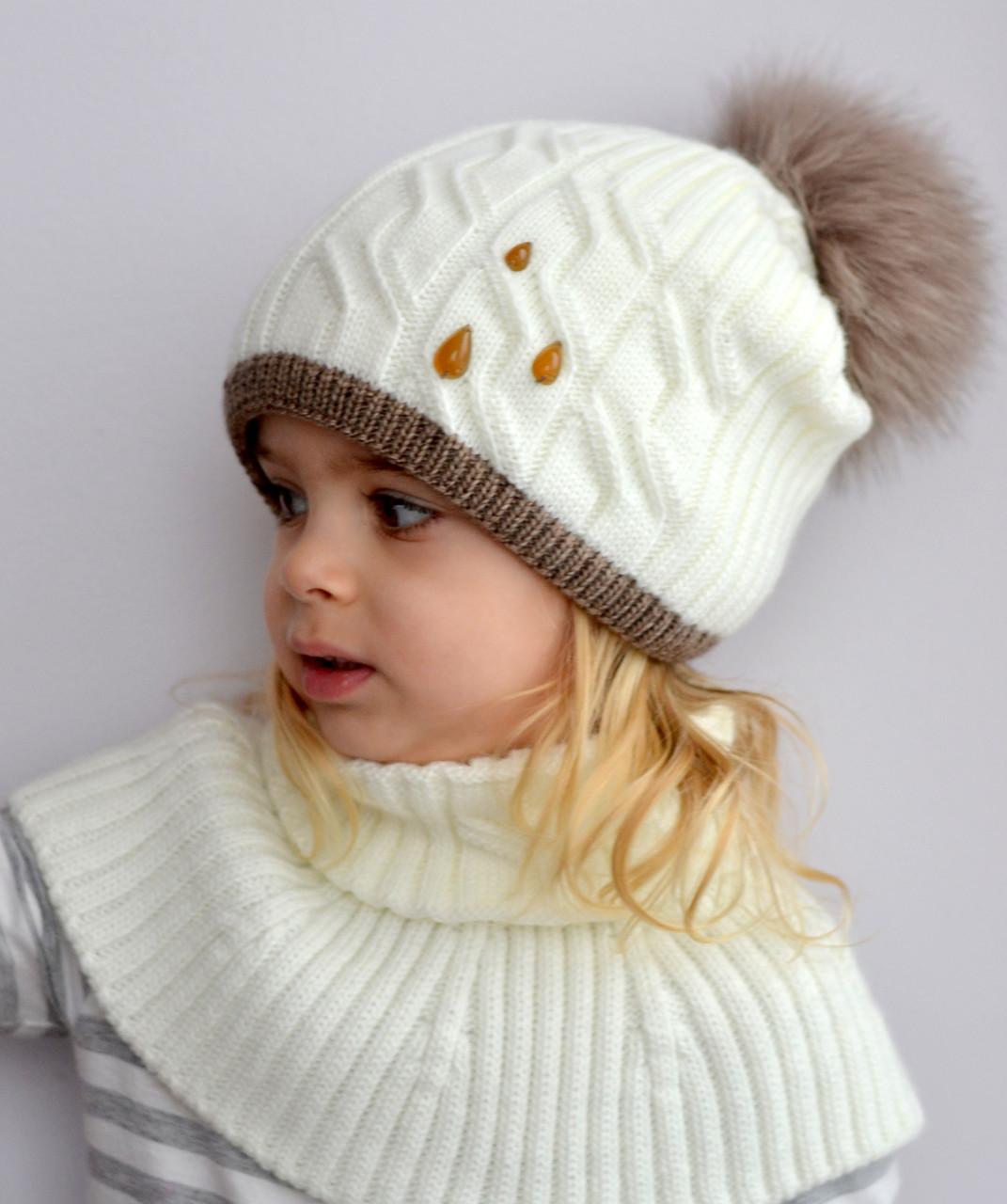 Зимняя детская шапка для девочки с пушистым помпоном