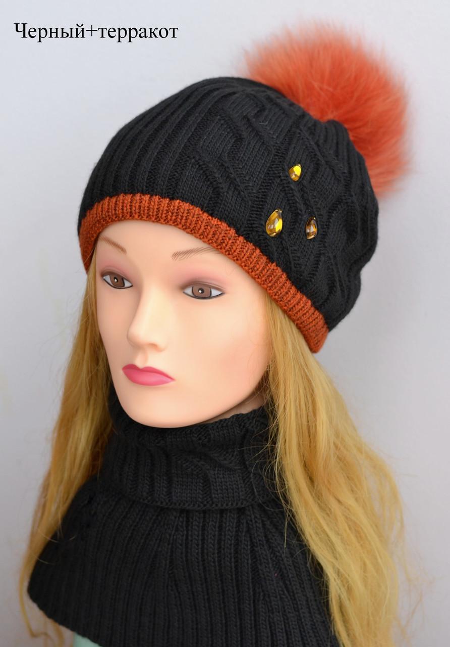 Теплая детская зимняя шапка с помпоном для девочки