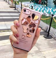 Силиконовый чехол c розовыми ободами и сердца iphone 6/6s, фото 1