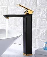 Смеситель высокий для умывальника раковины 80016BG черный-золото
