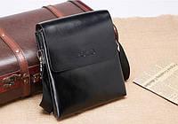 Черная классическая мужская сумка из эко-кожи, через плечо