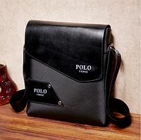 Стильная черная мужская сумка, экологическая кожа, сумка-планшетка, с плечевым ремнем