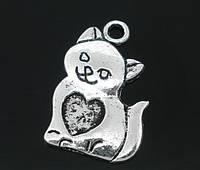 "Подвеска "" Кошка "", 22x14 mm, Античное серебро"