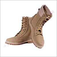 Берцы зимние, обувь для военных, на меху, натуральная кожа, нубук койот
