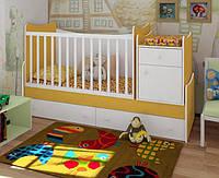 """Детская кроватка трансформер от 0 до 12 лет """"Классика"""" (белый-желтый)"""