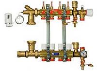 Коллектор в сборе со смесительным узлом с расходомерами для теплого пола Giacomini