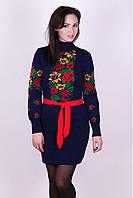 Вязаное платье Рябина синий+красный 42-48р