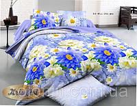"""Набор постельного белья двуспальный Евро """"Blue flowers""""."""