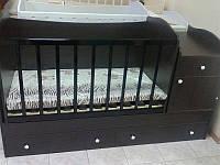 """Детская кроватка трансформер от 0 до 12 лет """"Классика"""" (венге темный)"""