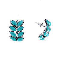 [2,2/1,5см] Серьги женские оптом, гвоздики полукруглые с декором из овальных голубых камней