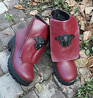 Женские зимние кожаные ботинки марсала на шнуровке Versace