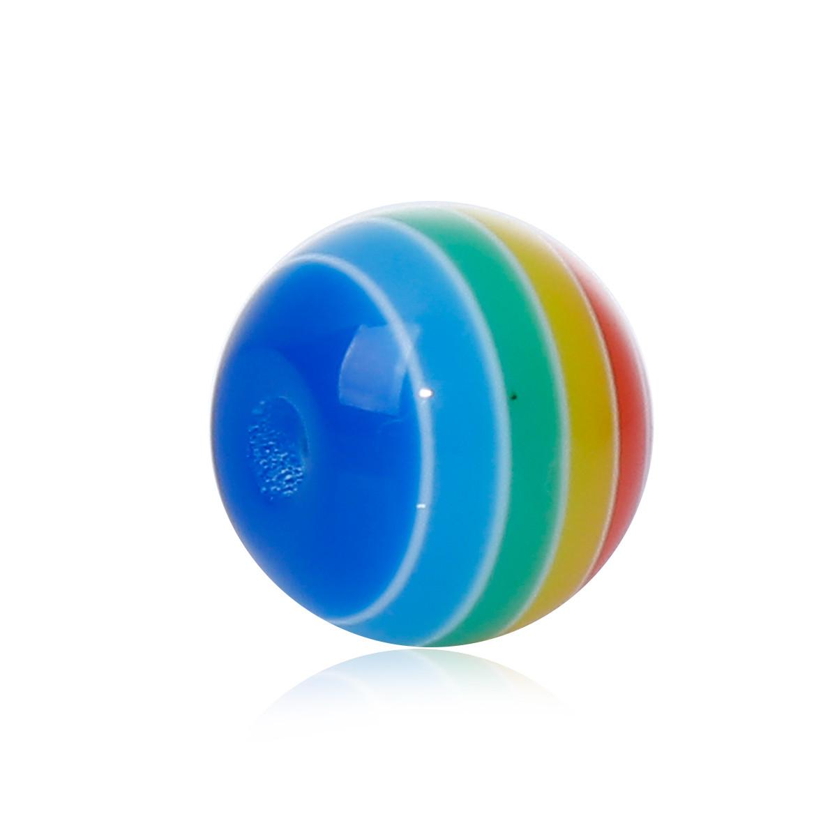 Бусина из смолы, Круглая, Разноцветная с узором, С полосами, 8 мм диаметр, Отверстие: приблизительно 1.5мм