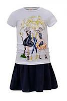 Детский комплект для девочки Glo-Story: GLT-4088 Бел+Син, р. 98-128