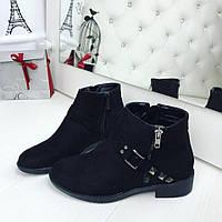 Демисезонные женские низкие черные ботиночки экозамш
