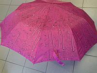 Зонт женский 10 спиц красивый малиновый с рисунком