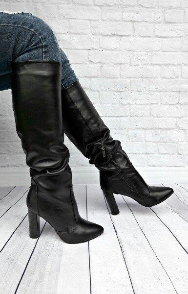 Женские черные кожаные сапоги на толстом каблуке   продажа, цена в ... 80a4def6201