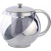 Заварник 500мл, круглый мини заварочный чайник стекло металл