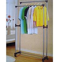 Стойка для одежды двойная на колесах, вешалка-стойка для одежды, стойка для одежды хромированный, фото 1