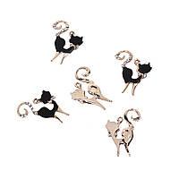 Подвеска Кошка, Цинковый сплав, Золотая, Черная, Прозрачные стразы, 25 мм x 19 мм