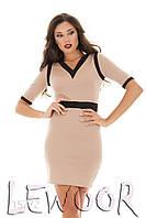 Трикотажное комбинированное платье с рукавом до локтя, фото 1