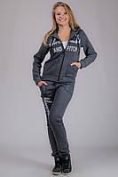 Теплый спортивный костюм женский серый с капюшоном трикотажный брюки манжет (резинка) внизу Турция