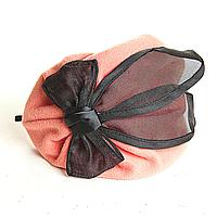 Обруч на голову шляпка розовая с чёрным атласным бантом, 12см