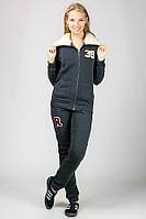 Теплый спортивный костюм женский серый с воротником трикотажный брюки манжет (резинка) внизу Турция