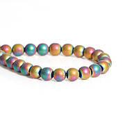 Бусина Круглая, Разноцветная, Гематит, 6 мм диаметр, Отверстие: Приблизительно 1 мм