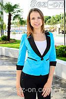 Пиджак женский на одной пуговице - Голубой