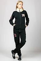 Черный теплый зимний спортивный костюм женский с воротником трикотажный брюки манжет (резинка) внизу Турция