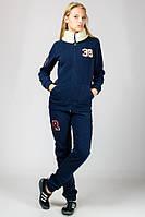 Теплый зимний спортивный костюм женский с воротником синий трикотажный брюки манжет (резинка) внизу Турция