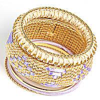 [6см] Браслет женский, твёрдый, объемный, из шести тонких колец и декорированного обруча золотого цвета