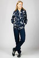 Теплый зимний спортивный костюм женский с капюшоном синий трикотажный брюки манжет (резинка) внизу Турция