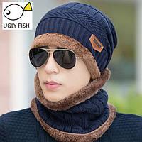 Мужская, женская шапка и шарф зимние