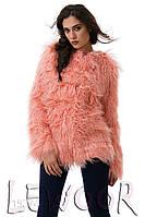 Нежнейшая шубка лама с подкладом на крючках-застёжках Розовый, Размер 48 (XL)