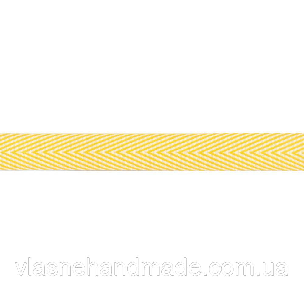 "Стрічка - May Arts - Twill Chevron Stripe - Yellow -  3.4"""