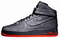 """Зимние мужские кроссовки Nike Air Force 1 High """"Grey"""" c мехом, найк аир форс"""