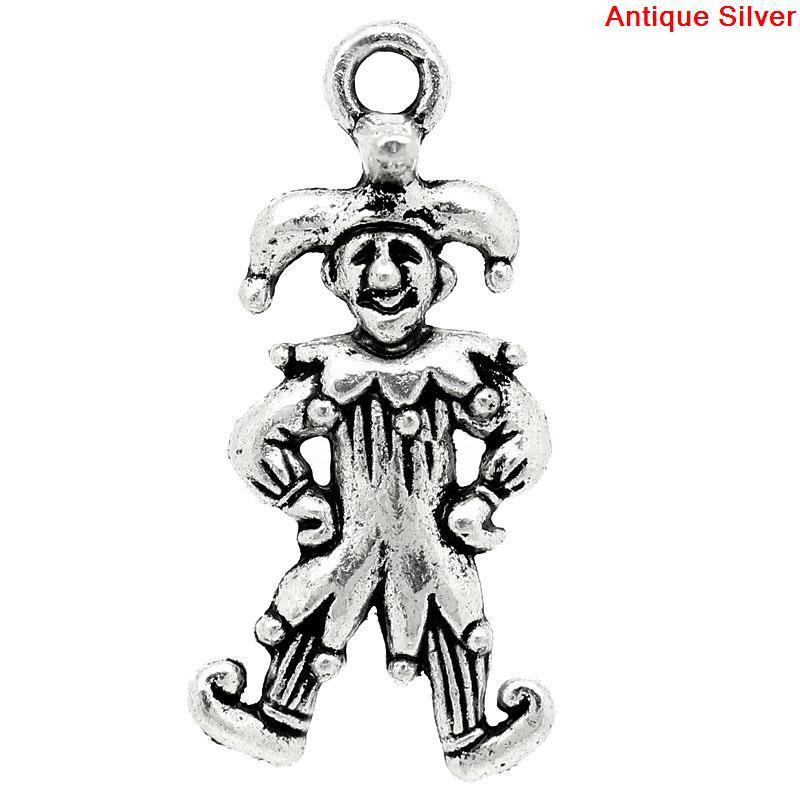 """Підвіска """"Клоун"""" з візерунком """" Чоловічок """", Металева, Античне срібло, 25.0 мм x 12.0 мм"""