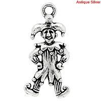 """Підвіска """"Клоун"""" з візерунком """" Чоловічок """", Металева, Античне срібло, 25.0 мм x 12.0 мм, фото 1"""